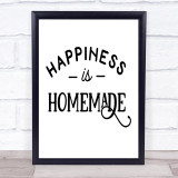Happiness Is Homemade Craft Quote Typogrophy Wall Art Print