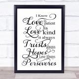 Love Is Patient Love Is Kind Quote Typogrophy Wall Art Print