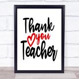 Thank You Teacher Quote Typogrophy Wall Art Print