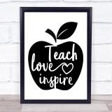 Apple Teacher Love Inspire Quote Typogrophy Wall Art Print