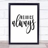 Rejoice Always Quote Typogrophy Wall Art Print