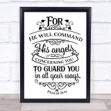 Christian He Will Command His Angels Quote Typogrophy Wall Art Print