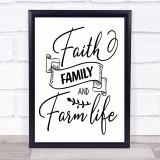Faith Family Farm Life Quote Typogrophy Wall Art Print