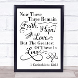 Faith Hope And Love Quote Typogrophy Wall Art Print