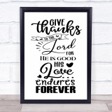 Give Thanks To The Lord Christian Quote Typogrophy Wall Art Print