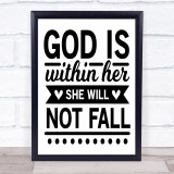 God Is Within Her She Will Not Fall Quote Typogrophy Wall Art Print
