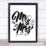Mr & Mrs Fall Autumn Quote Typogrophy Wall Art Print