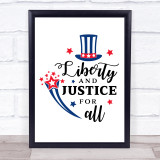 July 4Th Liberty Justice For All Quote Typogrophy Wall Art Print
