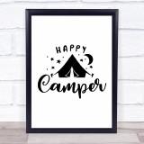 Happy Camper Tent Quote Typogrophy Wall Art Print