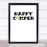 Happy Camper Quote Typogrophy Wall Art Print