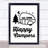 Happy Campers Caravan Quote Typogrophy Wall Art Print