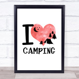 I Love Camping Heart Silhouette Quote Typogrophy Wall Art Print