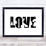 Love Camping Silhouette Quote Typogrophy Wall Art Print