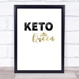 Keto Queen Quote Typogrophy Wall Art Print