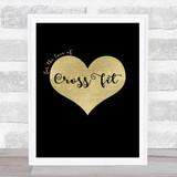 Love Cross Fit Black Gold Quote Typogrophy Wall Art Print