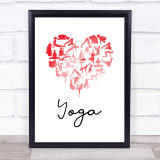 Love Yoga Heart Silhouette Red Heart Quote Typogrophy Wall Art Print