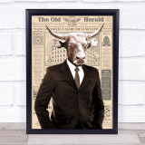Cow In Suit Newspaper Decorative Wall Art Print