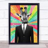 Giraffe In Suit Retro Decorative Wall Art Print
