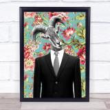 Goat In Suit Vintage Decorative Wall Art Print