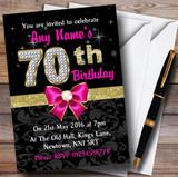 Pink Black Gold Diamond 70Th Birthday Party Customised Invitations