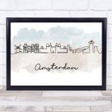 Watercolour Line Art Amsterdam Decorative Wall Art Print