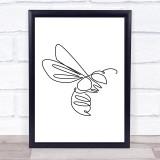 Black & White Line Art Wasp Decorative Wall Art Print