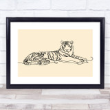 Block Colour Line Art Tiger Decorative Wall Art Print