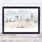 Watercolour Line Art London Decorative Wall Art Print