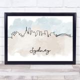 Watercolour Line Art Sydney Decorative Wall Art Print