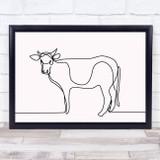 Black & White Line Art Cow Decorative Wall Art Print