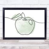 Watercolour Line Art Apple Decorative Wall Art Print