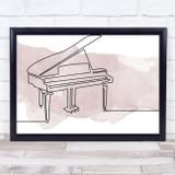 Watercolour Line Art Piano Decorative Wall Art Print