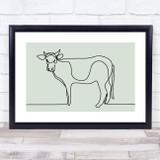 Block Colour Line Art Cow Decorative Wall Art Print