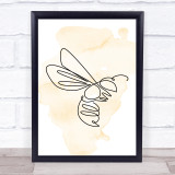 Watercolour Line Art Wasp Decorative Wall Art Print