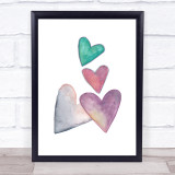 Pastel Colour Hearts Decorative Wall Art Print