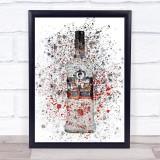 Watercolour Splatter Russian Black Vodka Bottle Decorative Wall Art Print