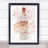 Watercolour Splatter Peach Schnapps Bottle Decorative Wall Art Print