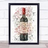 Watercolour Splatter Red Wine Bottle Decorative Wall Art Print