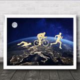 Triathlon Across The World Decorative Wall Art Print