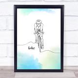 Bike Watercolour Effect Decorative Wall Art Print