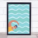 Swimmer Decorative Wall Art Print