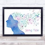 Any Song Custom Colourful Music Note Hair Personalised Lyrics Print