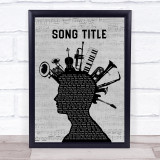 Any Song Custom Musical Instrument Mohawk Personalised Lyrics Print