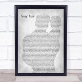 Any Song Lyrics Custom Father & Baby Grey Song Lyric Print