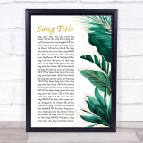 Any Song Lyrics Custom Gold Green Botanical Leaves Side Script Song Lyric Print