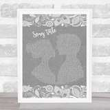 Any Song Lyrics Custom Grey Burlap & Lace Personalised Lyrics Print