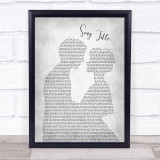 Any Song Lyrics Custom Grey Man & Lady  Personalised Lyrics Print