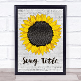Any Song Lyrics Custom Grey Script Sunflower Song Lyric Print