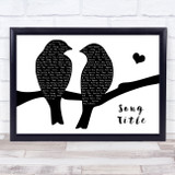 Any Song Lyrics Custom Lovebirds Black & White Song Lyric Print