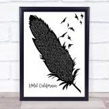 Eagles Hotel California Black & White Feather & Birds Song Lyric Print